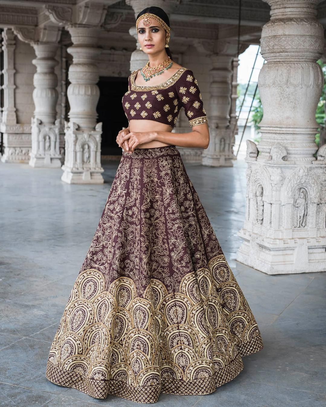 7f79c3a328 Stunning wine color lehenga and blouse with heavy hand embroidery work.  Taara ~ Meenakshi collection of Mrunalini Rao . 17 January 2018