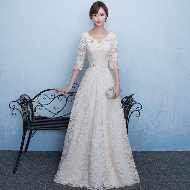 958adf1772d0a パーティードレス 結婚式 ドレス 袖あり 二次会 ドレス ウェディングドレス 二次会ドレス 花嫁 パーティドレス