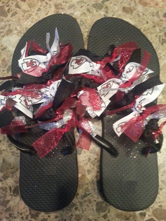 3fcc1970583cf Kansas City Chiefs Ribbon Flip Flops