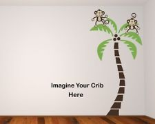 2 Monkeys on a palm tree BR Wall Decals Stickers Baby Nursery Room Monkey