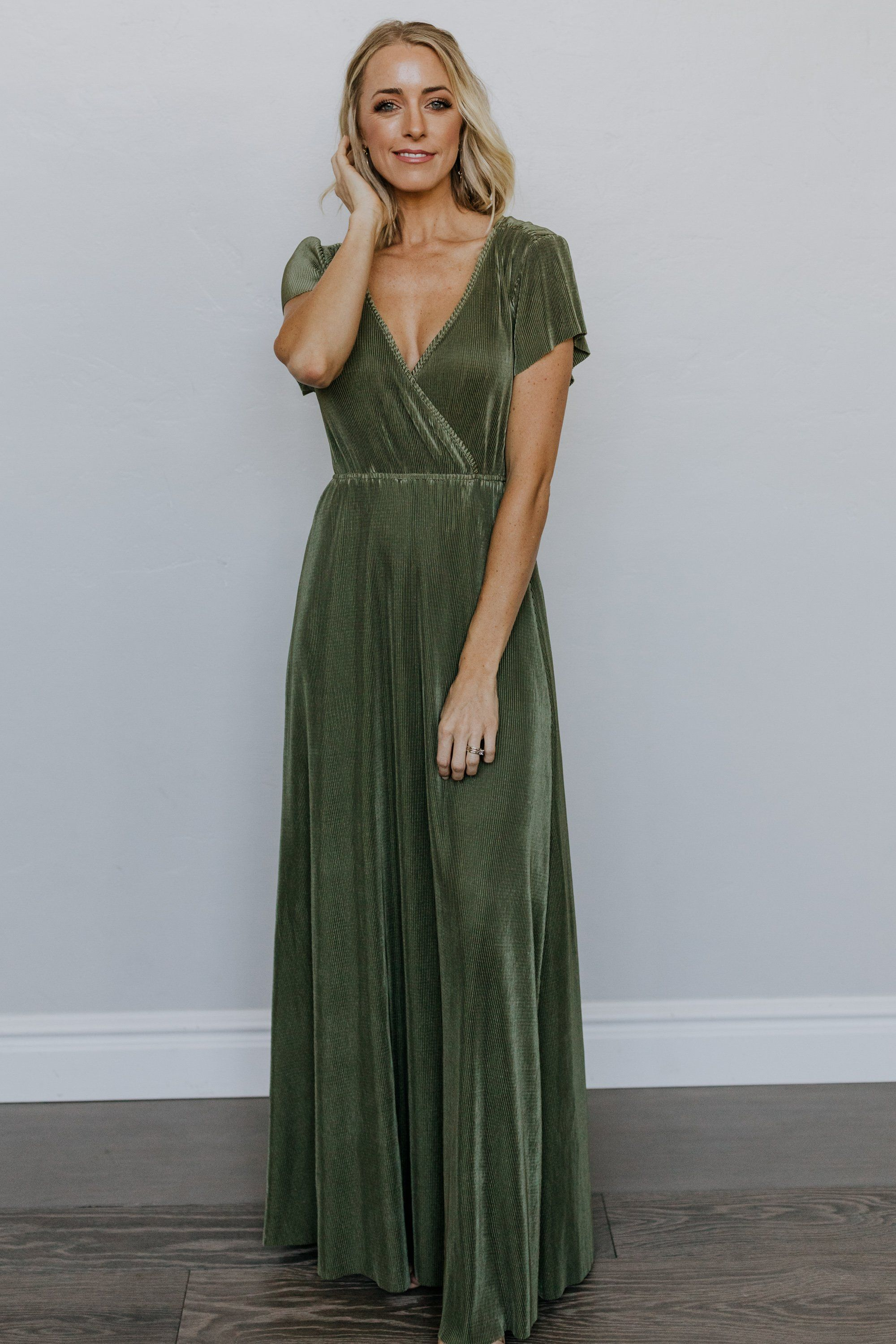 Athena Sage Pleated Maxi Dress