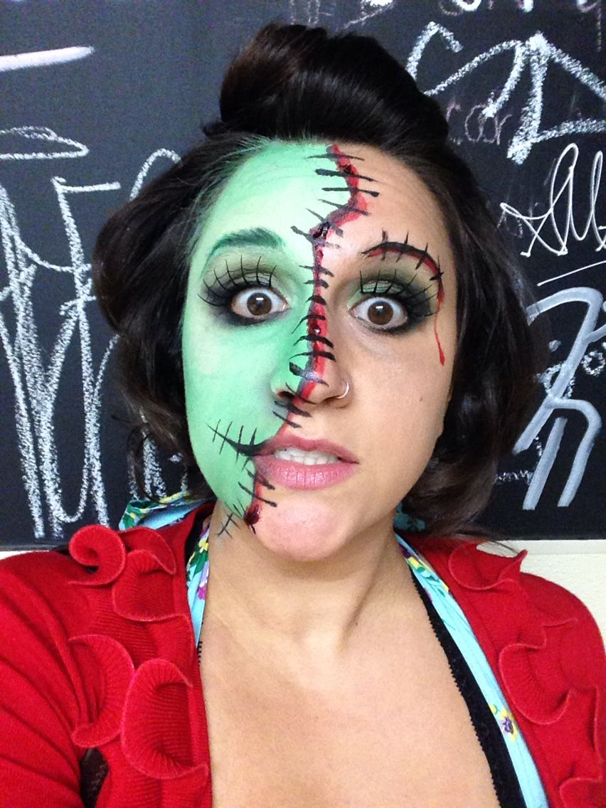 Modern Frankenstein makeup for creepy Rockabilly costume