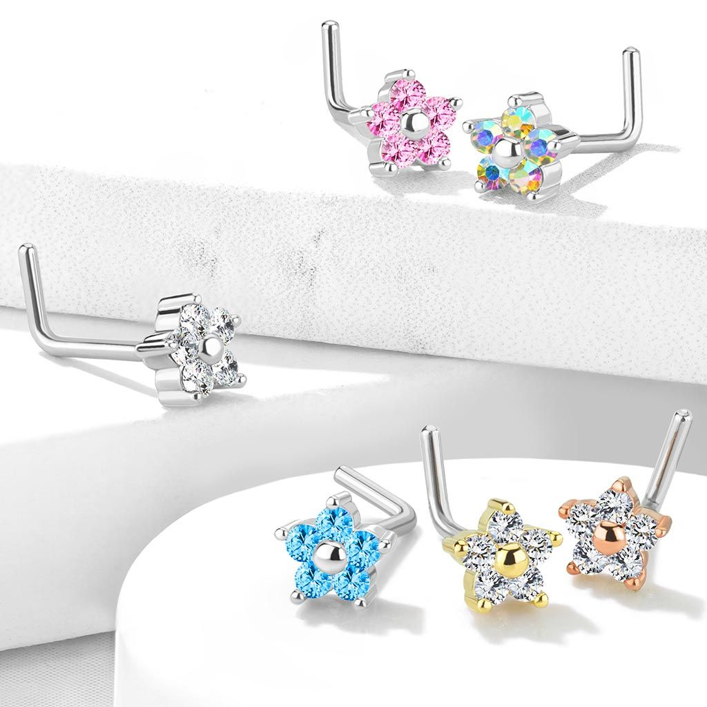 Nose Stud Surgical Steel with Flower