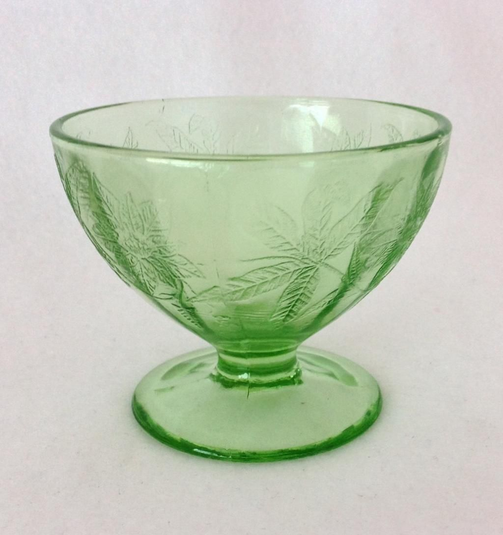 Jeannette Floral Poinsettia Green Depression Glass Sherbet from maggiebelles on Ruby Lane