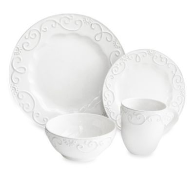 Buy American Atelier Mina 16-Piece Dinnerware Set in White from Bed ...