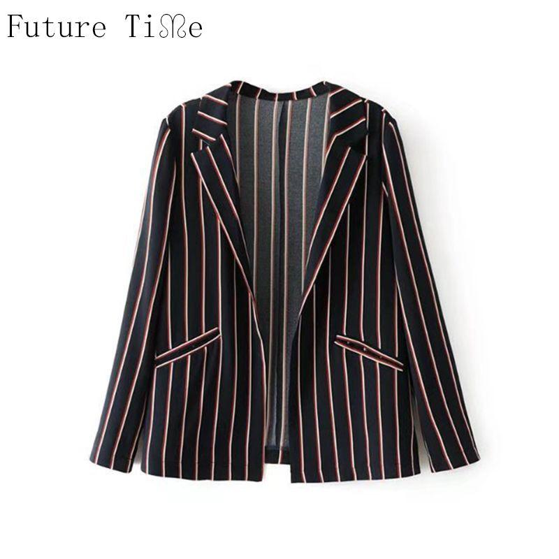 Future Time Women Blazer Casual Stripe Jacket Open Stitch Loose Coat Female Turn Down Collar Long Sleeve Blazer Streetwear WT104 #Affiliate