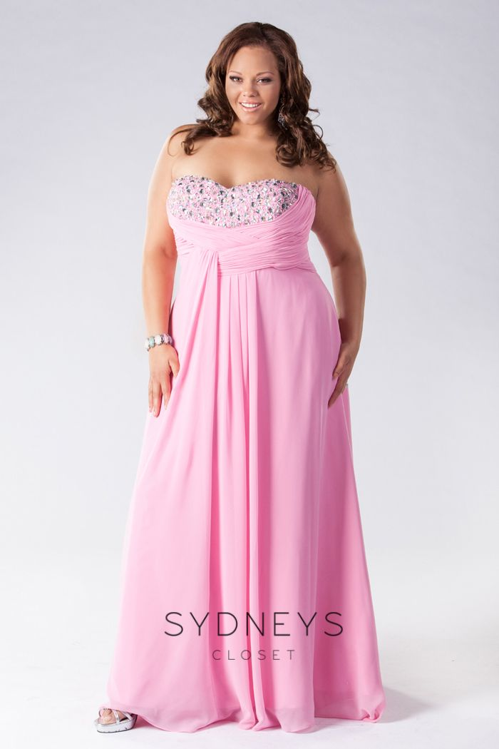 Lovely chiffon formal sample gown with beaded strapless bodice ...