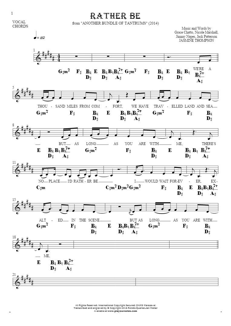 Rather be notes lyrics and chords for vocal with accompaniment rather be notes lyrics and chords for vocal with accompaniment hexwebz Choice Image