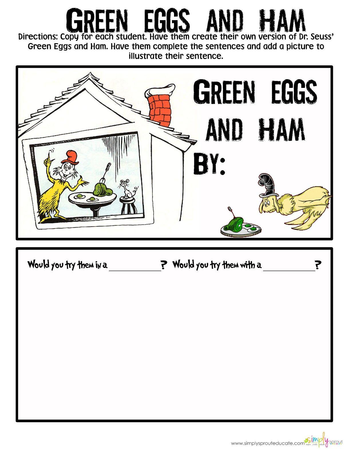 Green Eggs And Ham Writing Freebie