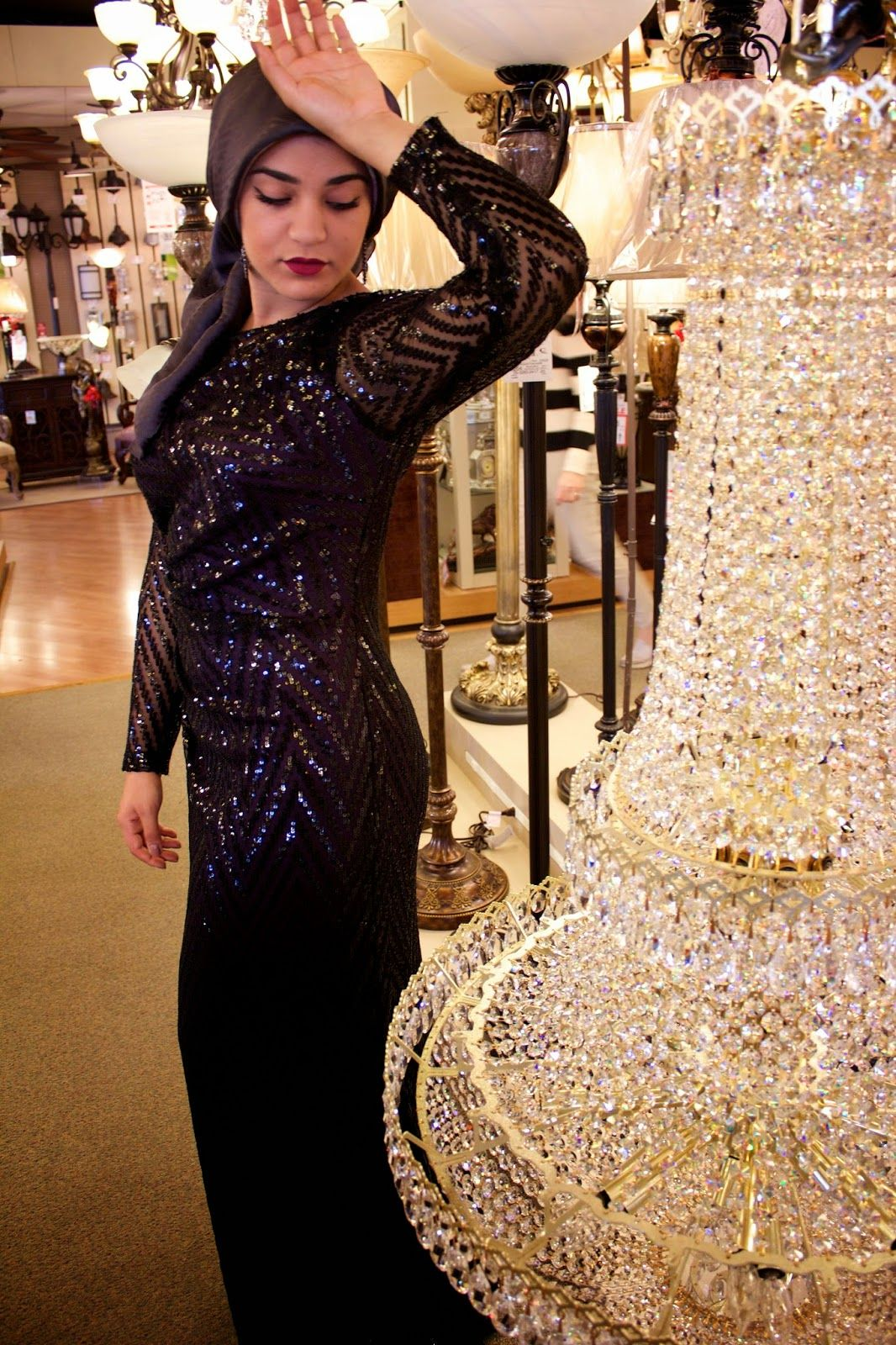 Aboutthatwrap long sleeve black sequin dress by david meister