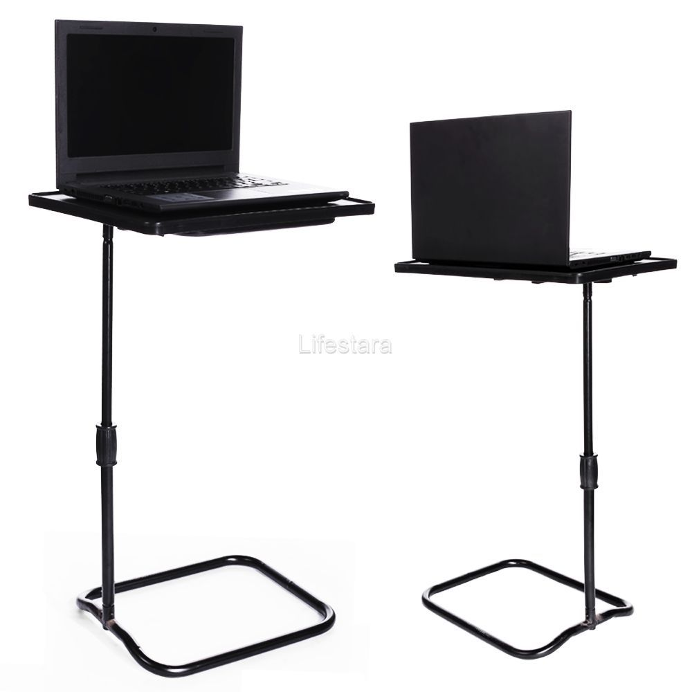 Height Adjustable Laptop Desk Swivel Bedside Table Stand Tray Over  # Table Tv D'Angle En Verre Design Transparent