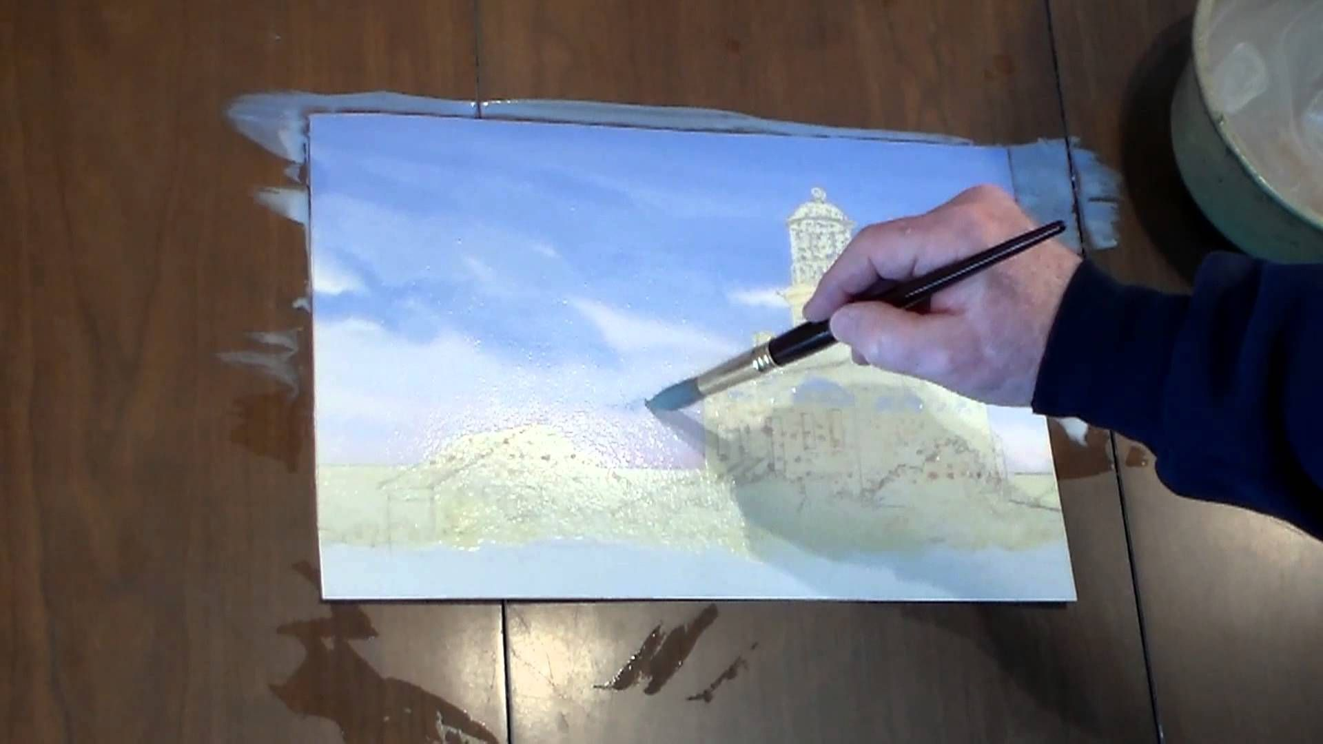 How to paint a Lighthouse in Watercolor Step 2 Laying