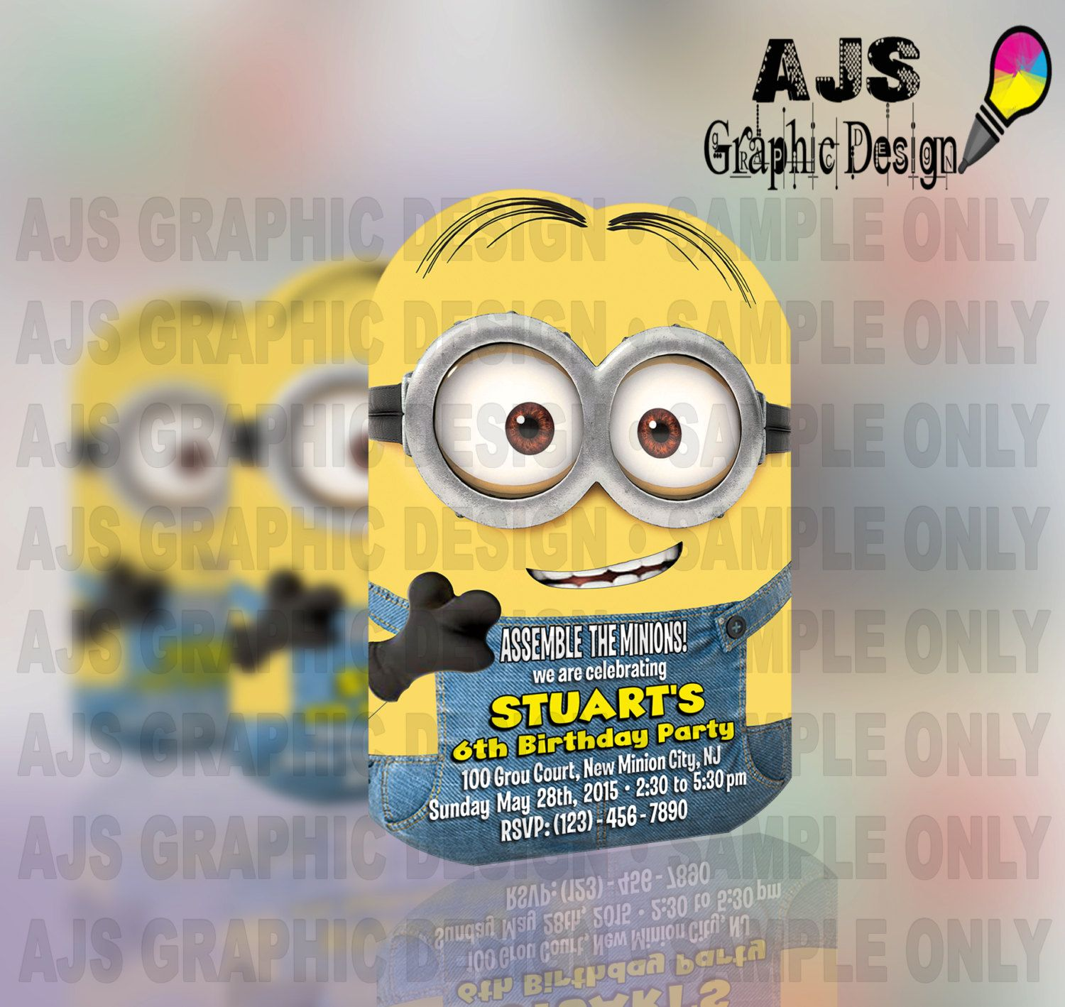 Printable MINION Birthday Invitations by AJSGraphDesign on Etsy