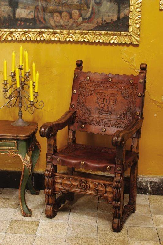 Hermosa silla en cuero y madera muebles y pizza en for Casa mexicana muebles