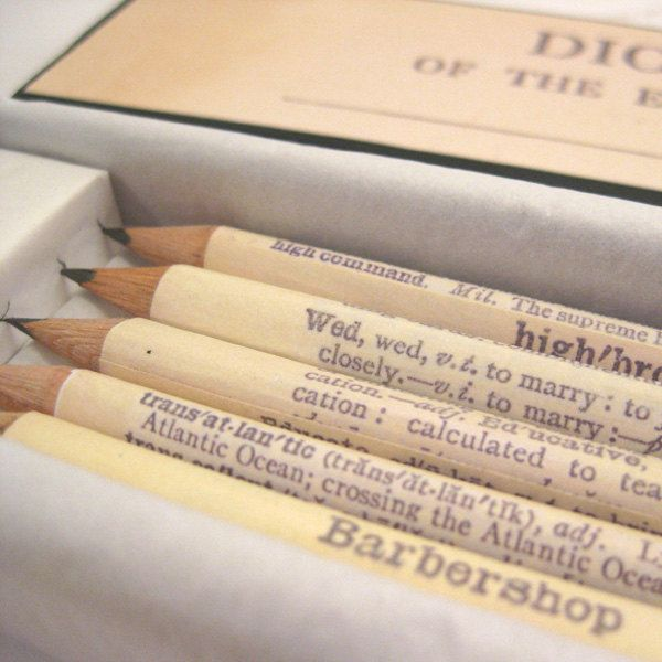 Personalised Wedding Pencils Favours Set Of 5 Hand Covered Dictionary In A Matching Gift Box 20 00 Via Etsy