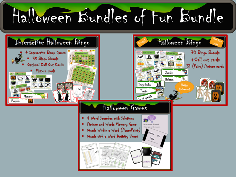 Halloween Interactive Bingo, Bingo Cards and Call Out Cards, Word ...