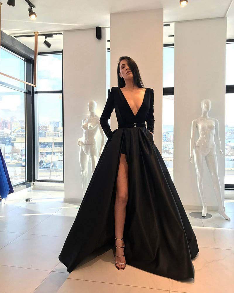 Marirobe Women S Hight Split Evening Dress Deep V Neck Prom Dresses Long Sleeve Party Gown Prom Dresses Long With Sleeves Trendy Prom Dresses Prom Dresses Long [ 1000 x 800 Pixel ]