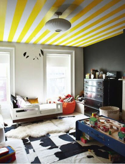 Bright Yellow Paint Colors For Your Home Home Bedroom Decor Striped Ceiling