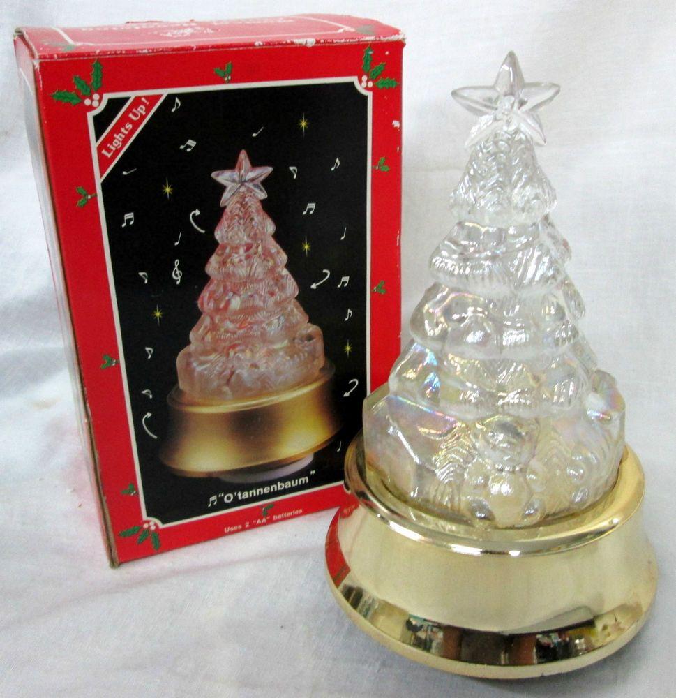 Vtg Glass Music Box Revolving Light Up Christmas Tree O