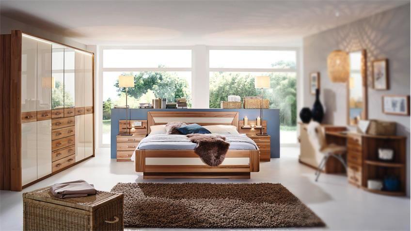Schlafzimmer VALERIE Schrank Bett Kernbuche teilmassiv creme - schlafzimmer mit eckschrank
