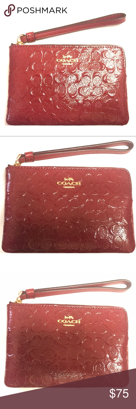 fc169853f237 NWT Authentic Coach Zip Wristlet Signature Leather Authentic Coach Corner  Zip Wristlet In Signature Leather  Firm Price  Signature patent leather  with a ...