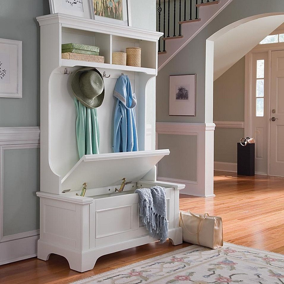 Home Styles Naples Hall Tree And Storage Bench White - Brighten up your entryway or mud room with the inviting design of the Naples hall tree and storage bench.