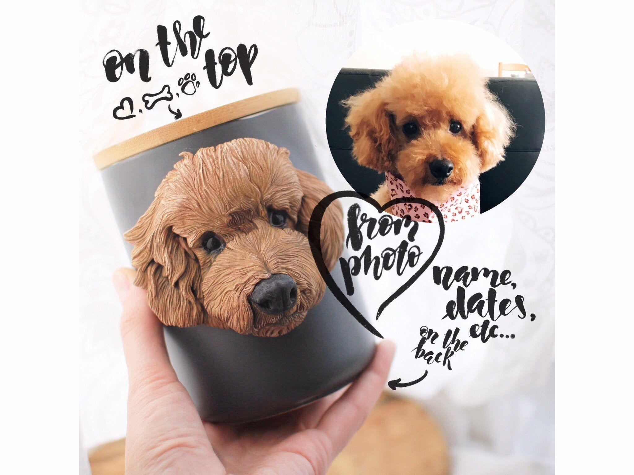 Custom pottery pet urn, dog or cat 3d portrait, hand