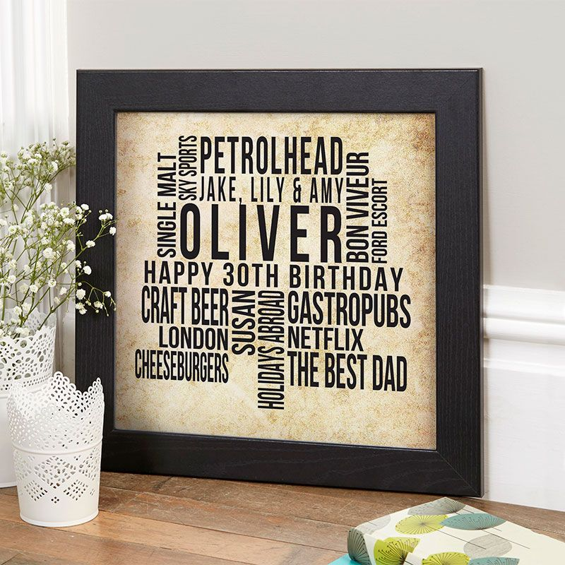 Personalised 30th Birthday Gift For Him Of Text Art In