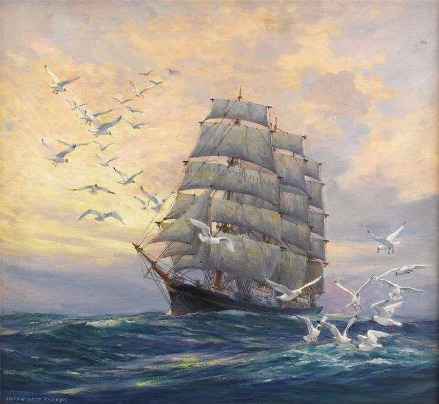 Женщине летие, открытки с видами кораблей