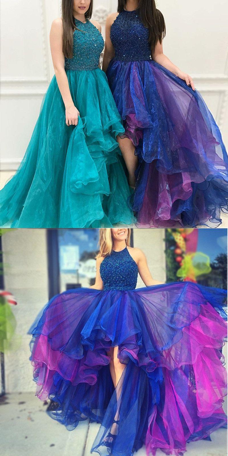 Royal Purple Beaded Halter Prom Dresses