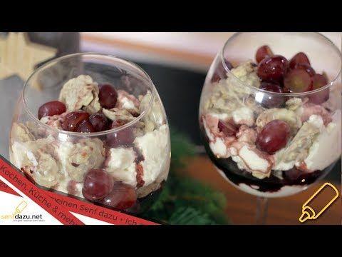 Rotweincreme Dessert Rezept I Joghurt-Creme mit Rotweinsauce und weißen Schokocrossies I SCCC ' 17