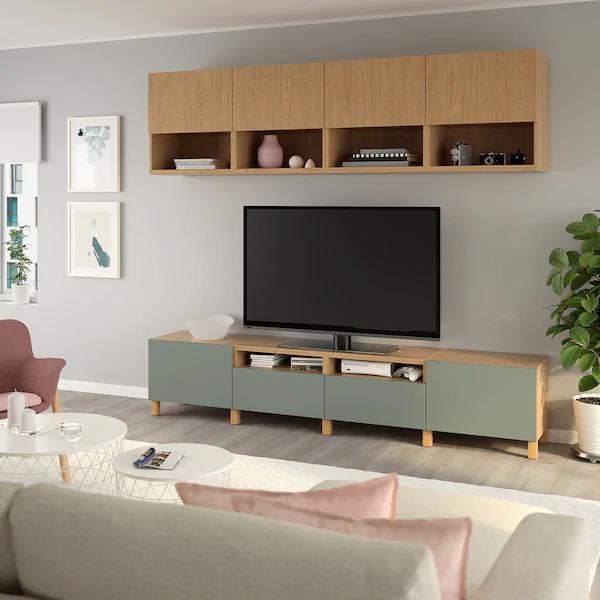 Besta Tv Storage Combination Oak Effect Lappviken Notviken Stubbarp Grey Green Ikea En 2020 Meuble Tv Idee Meuble Tv Salon Tele