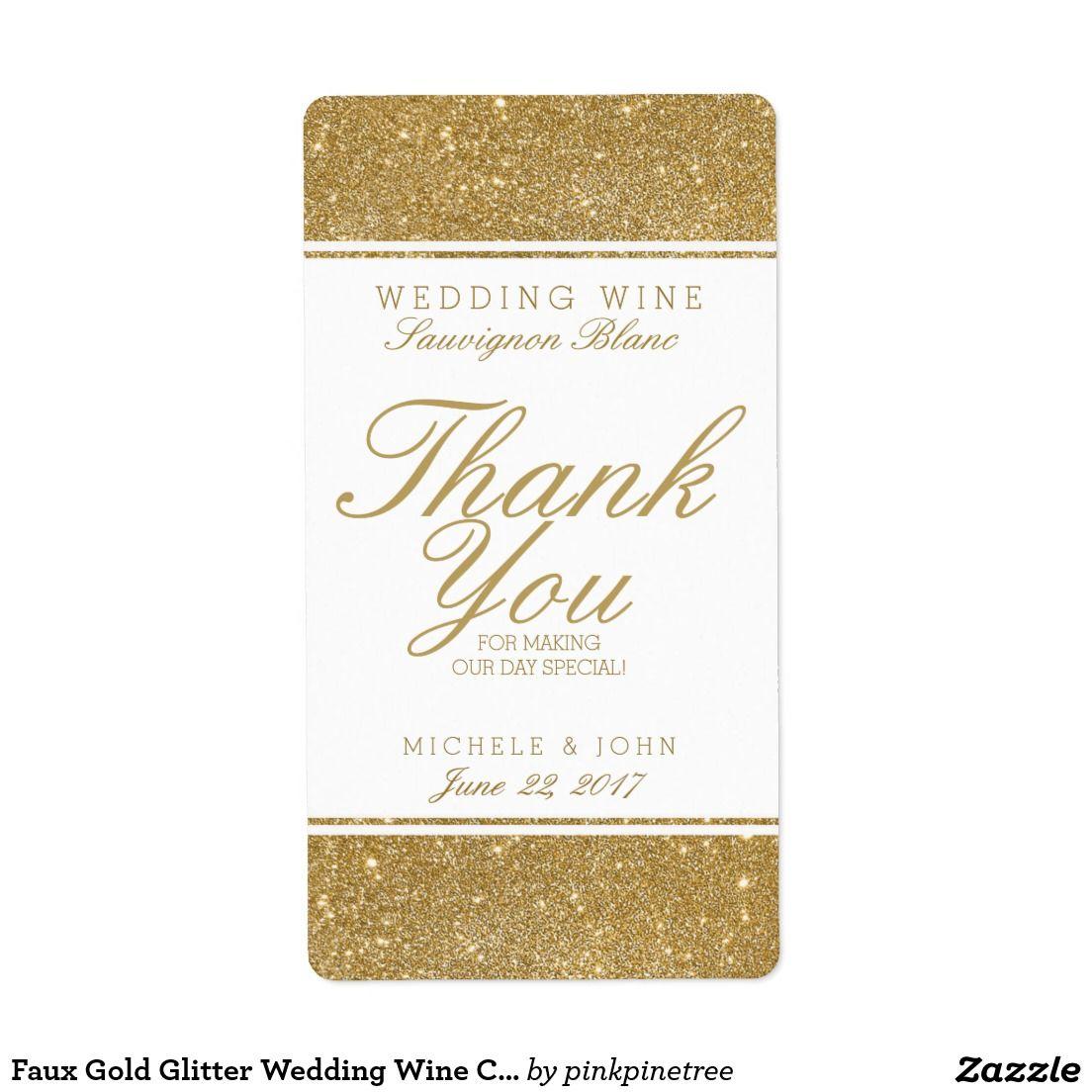 Faux Gold Glitter Wedding Wine Custom Label   Wedding labels ...