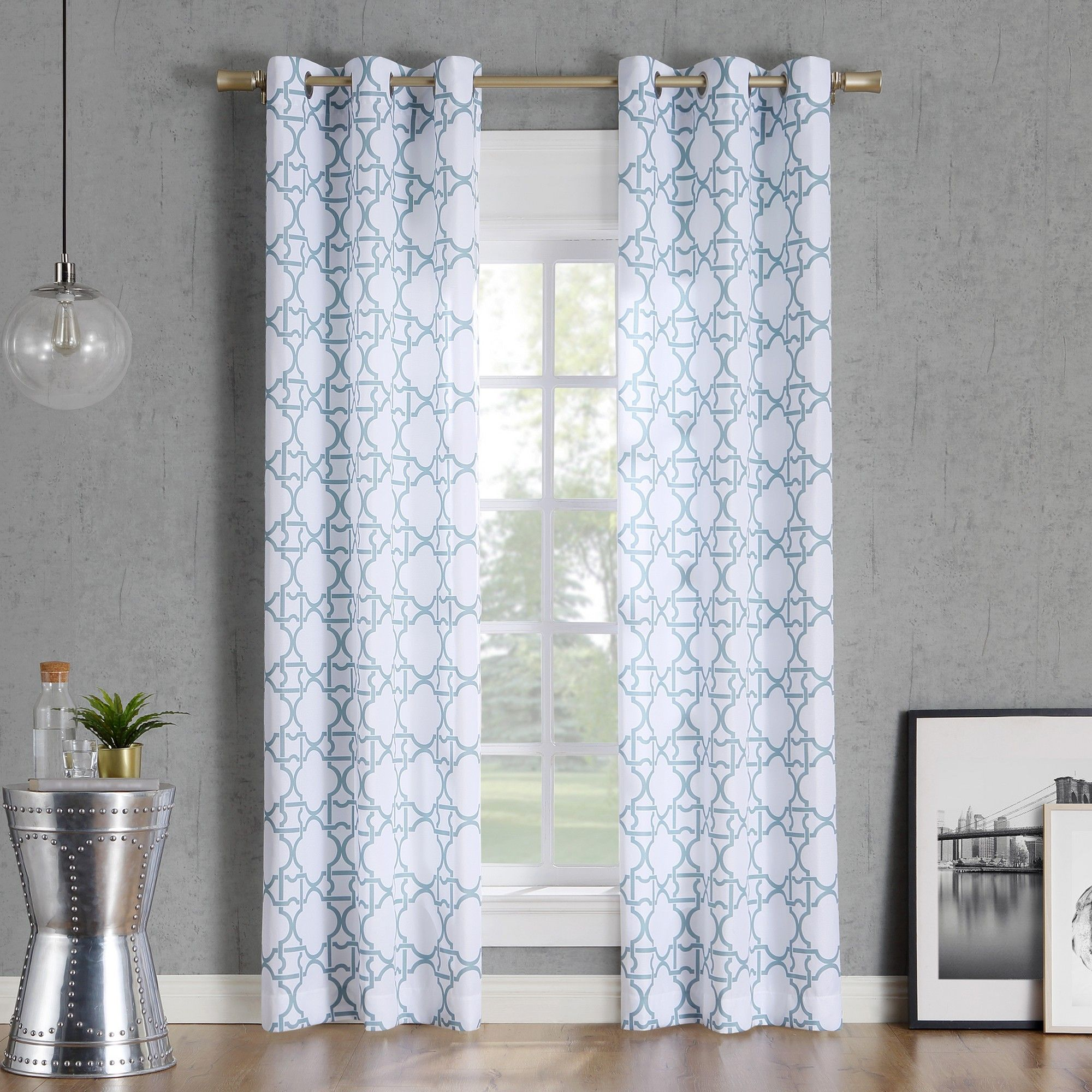 Bed bath and beyond window shades  x barkley trellis semisheer grommet curtain panel aquano