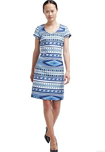 Summer Dress for Women BlueWhite AztecPrint Designer Day Outfit  Anna Field >>> Check out the image by visiting the link.