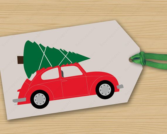 Retro Vw Beetle Holiday Gift Tags With Christmas Tree On Top Featuring Fun Vintage Mid Century Slu Holiday Gift Tags Gift Tags Christmas Crafts Decorations
