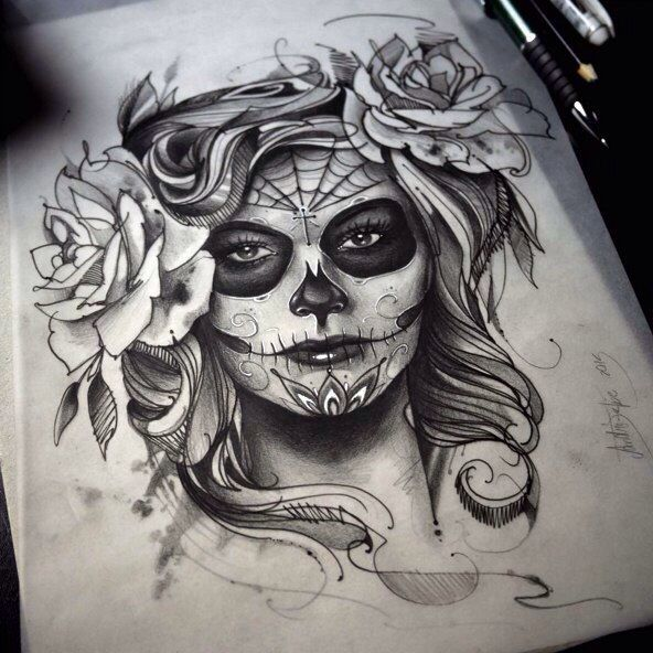 rose in hair perfect girls pinterest catrina tattoo. Black Bedroom Furniture Sets. Home Design Ideas