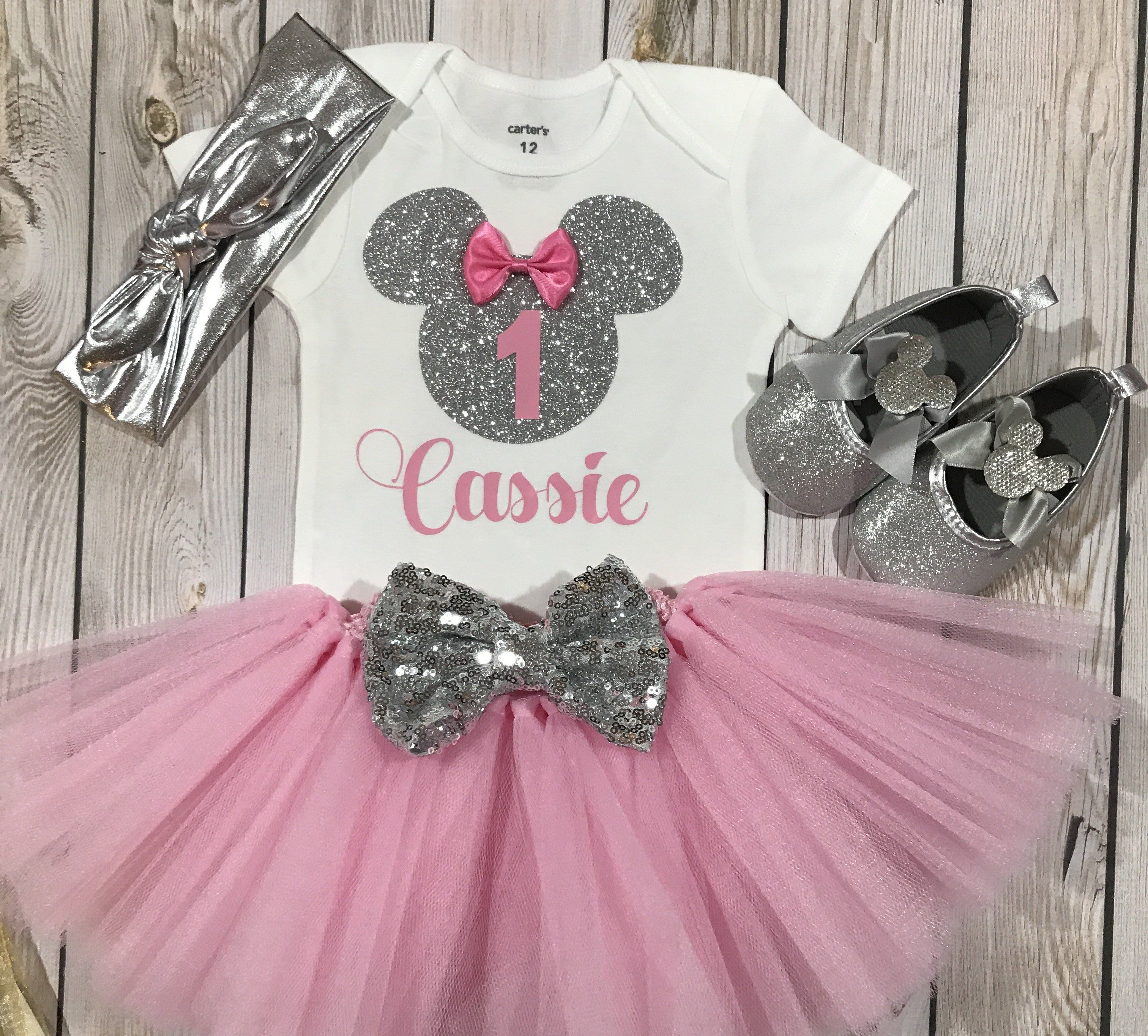 6ada939f2 First birthday outfit girl pink and silver, minnie mouse shoes, Minnie  Mouse birthday outfit, Minnie Mouse first birthday outfit, minnie mouse  headband