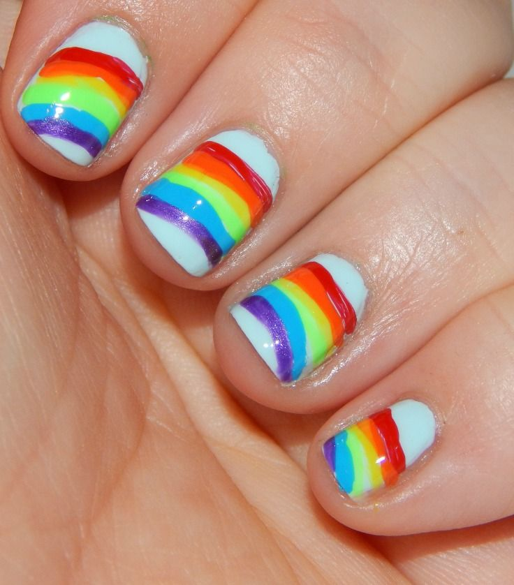 How To Paint Rainbow Nails | Rainbows, Saints and Easy