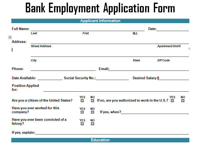 Bank Employment Application Form Template Project Management – Bank Application