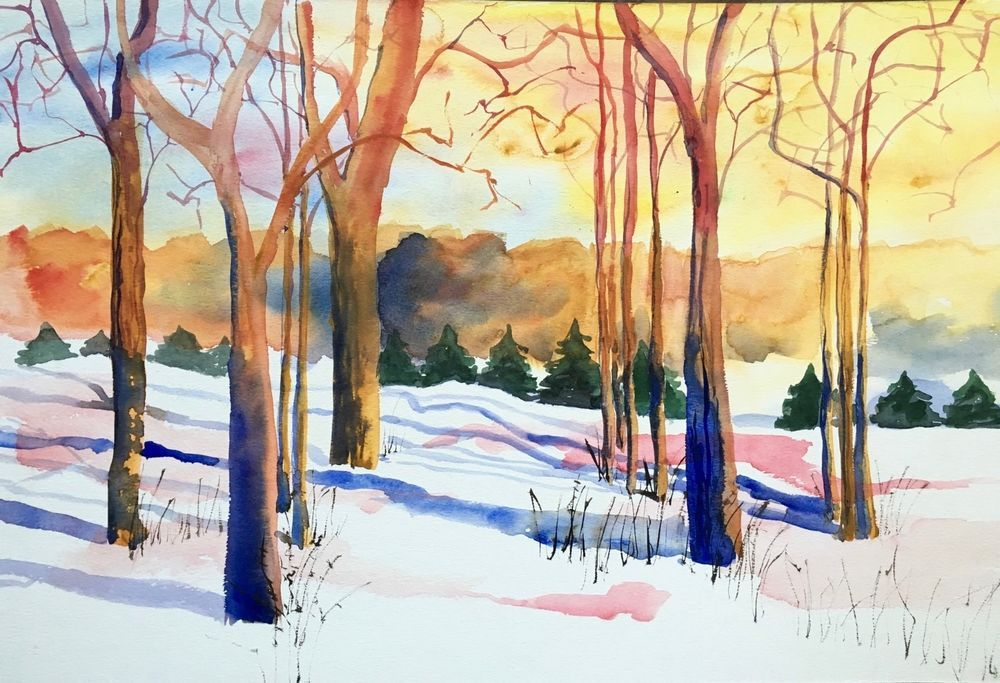 Large Expressionist Watercolor Painting Winter Landscape Trees