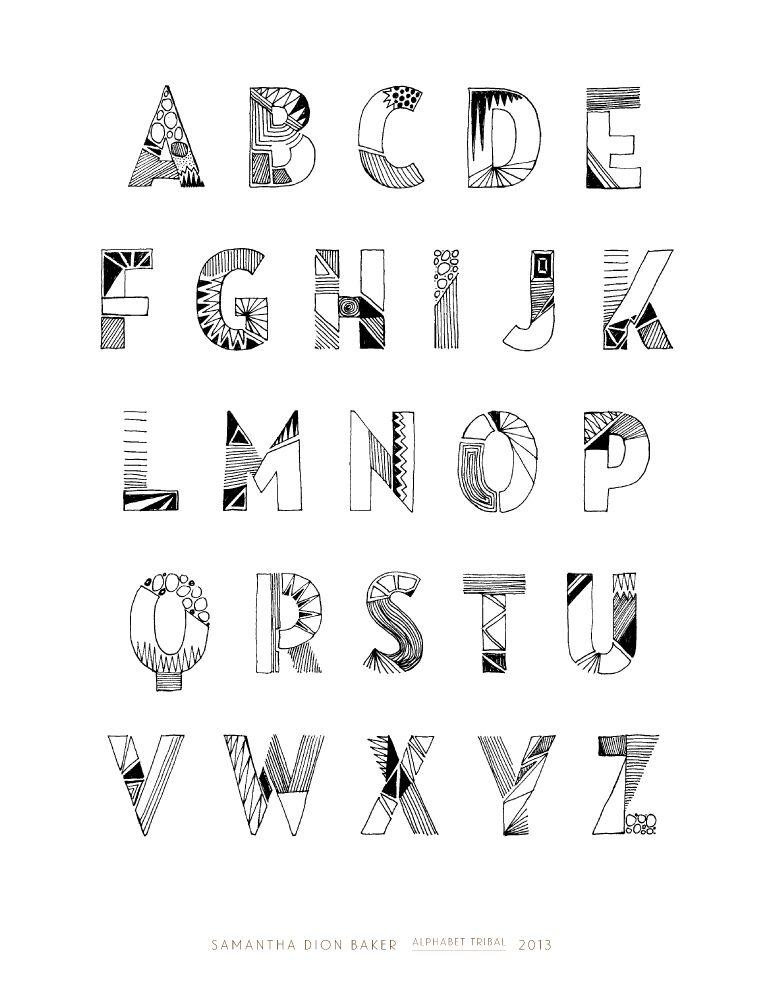 Tribal Lettering : tribal, lettering, Typography, Tribal, Alphabet, @sdionbaker, Alphabet,, Fonts, Handwriting, Lettering