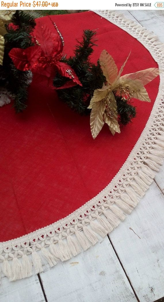 SALE 10 Burlap Tree Skirt Christmas Tree by AJRUSTICCREATIONS