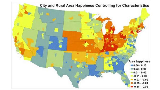 This Map Shows Where The Happiest And Unhappiest People Live In - Us live map