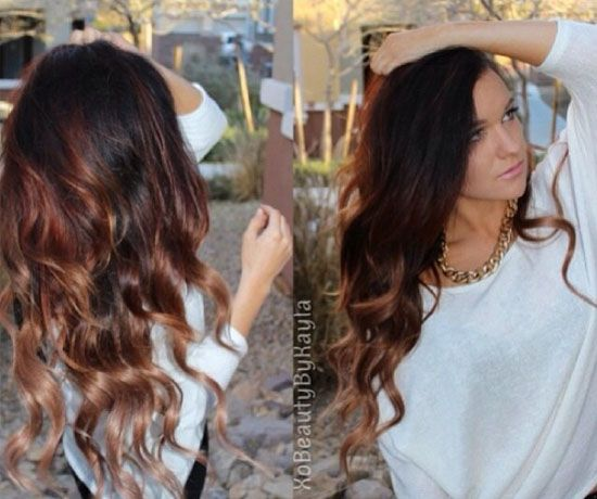 2014 Spring Celebrity Sombre Hair Colors Black on Top Hair
