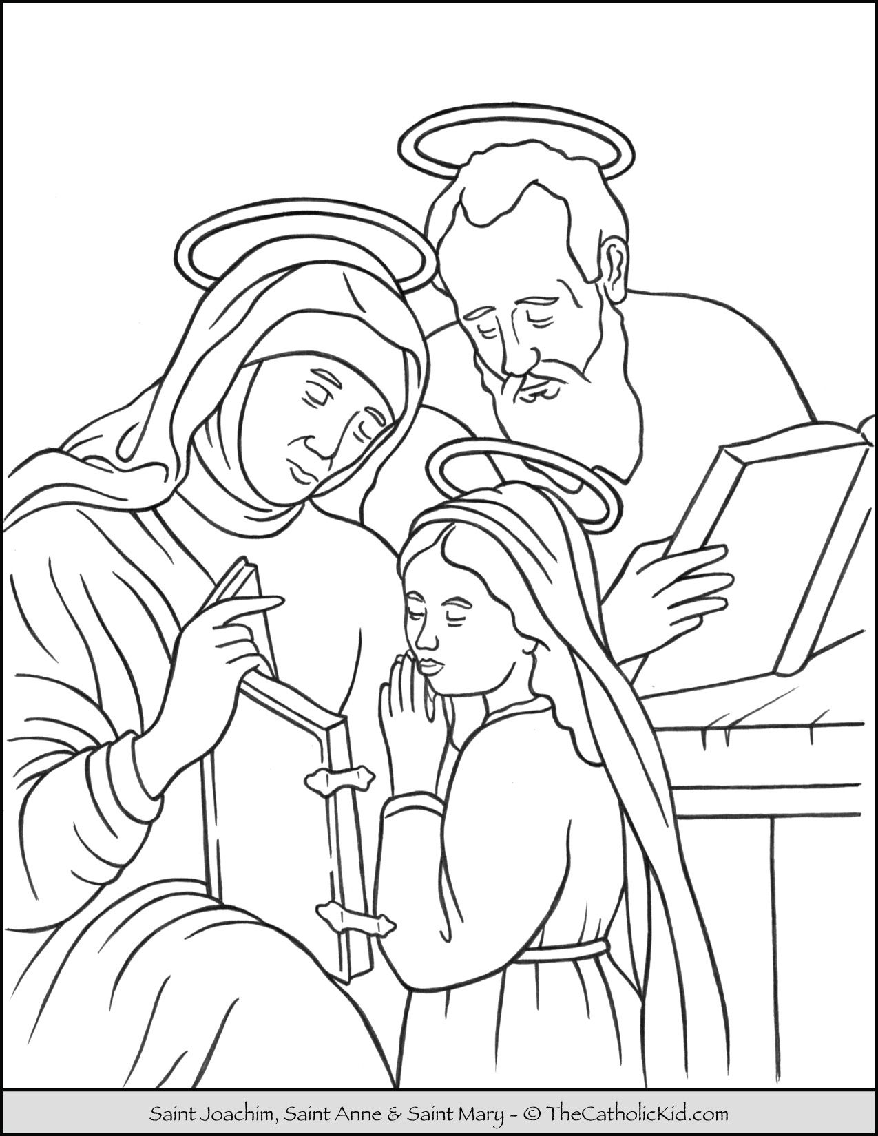 Saint Joachim Anne And Mary Coloring Page Thecatholickid Com