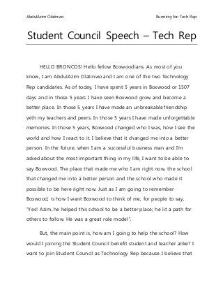 Student Council Speech  Speeches    Student Council