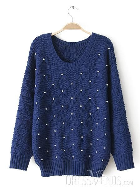 US$28.99 Elegant Beading Round Neckline Long Sleeves Sweater. #Knitwear #Sweater #Beading #Long