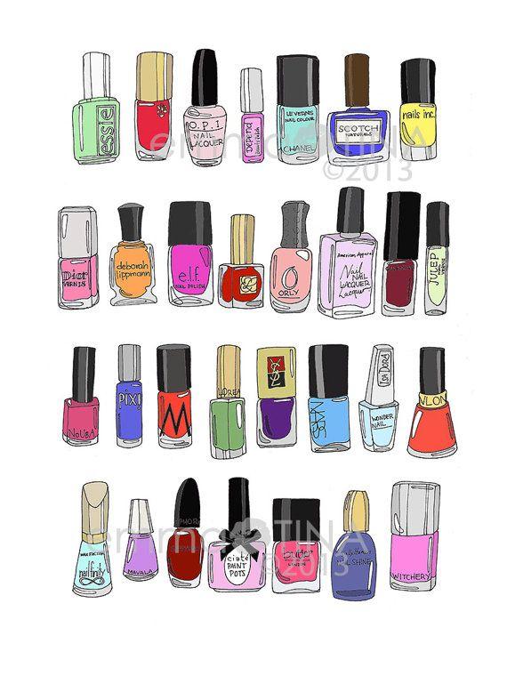 30 Nail Polishes Fashion Illustration Art Print by emmakisstina ...