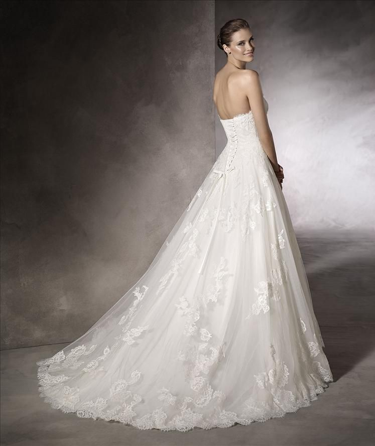 a9a3988d274 Katara by Pronovias White One. A beautiful lace A-line with a strapless and  sweetheart neckline.